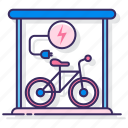 bike, charging, electric, plug, station icon