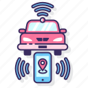 car, connected, gps, location, tracking, wi-fi icon