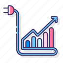 chart, consumption, energy, graph, levels, rates icon