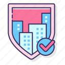 city, protection, public, safety, shield icon