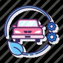 car, control, emission, hybrid, management, vehicle icon