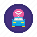 autonomous car, autonomous vehicle, connected car, connected vehicle, smart car, smart vehicle icon