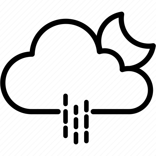 cloud, moon, raining, weather icon