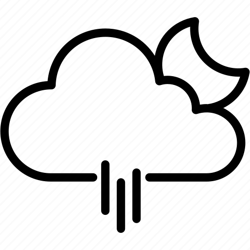 cloud, forecast, moon, rain, raining, weather icon