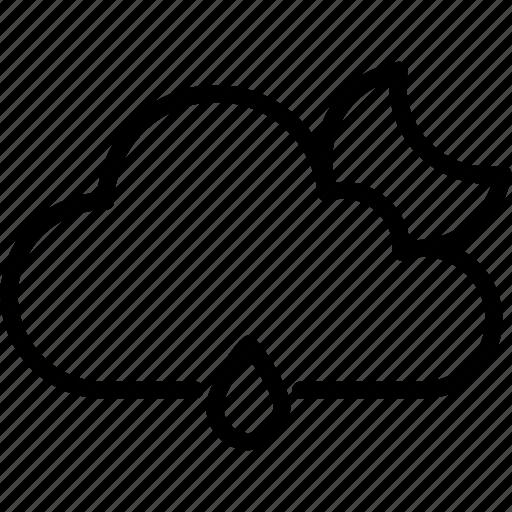 cloud, forecast, moon, raining, sun, weather icon