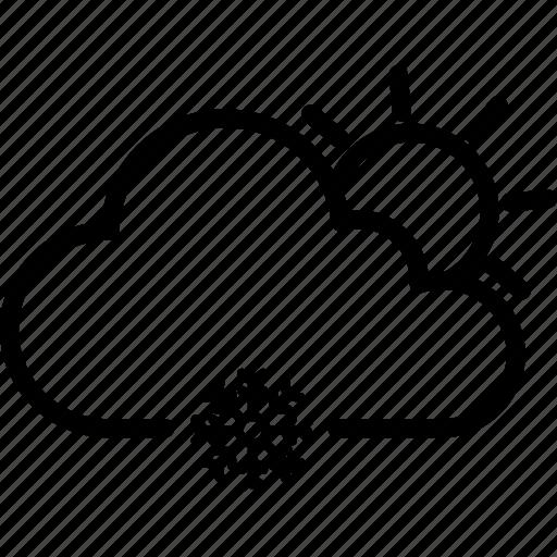 cloudy, snow, snowflake, sun, weather icon