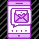 image, message, purple, sending, smartphone icon