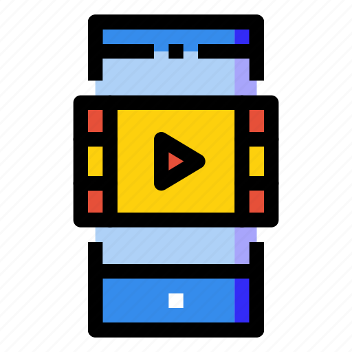 film, mobile, movie, phone, player, smartphone, vedio icon