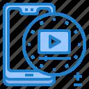 mobile, mobilephone, player, smartphone, vdo, video icon
