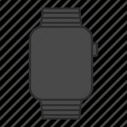 apple, apple watch, applewatch, black steel, iwatch, steel, watch icon
