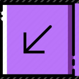 arrow, diagonal, direction, down, left, orientation icon