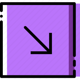 arrow, diagonal, direction, down, orientation, right icon