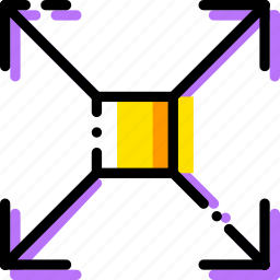 arrow, direction, expand, orientation, square icon