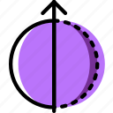 arrow, direction, half, orbit, orientation