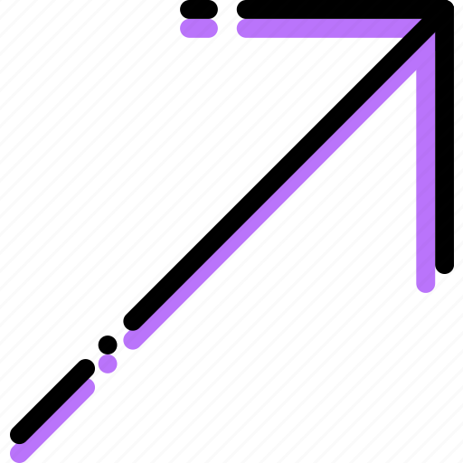 arrow, direction, orientation, right, top icon