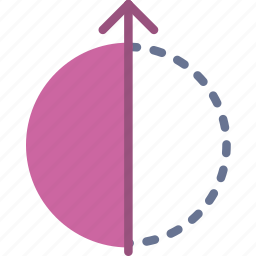 arrow, direction, half, orbit, orientation icon