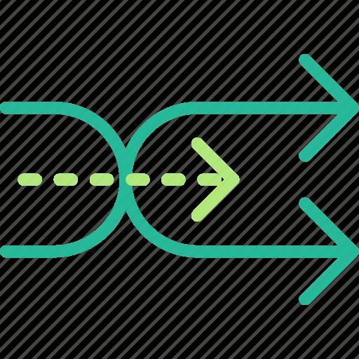 arrow, direction, finish, orientation, shuffle icon