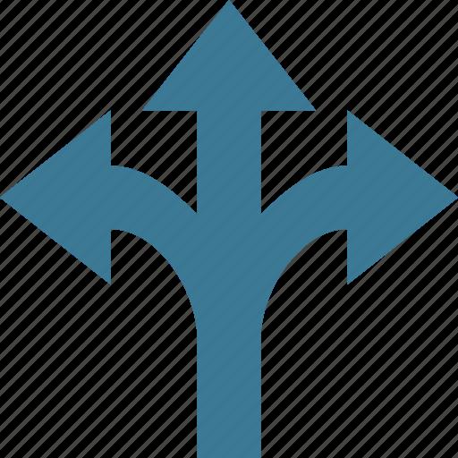 arrow, arrows, direction, orientation, three icon