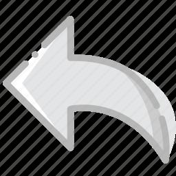 arrow, back, direction, orientation icon