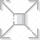 arrow, direction, expand, orientation, square