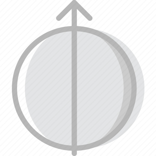 arrow, direction, half, orbit, orientation icon