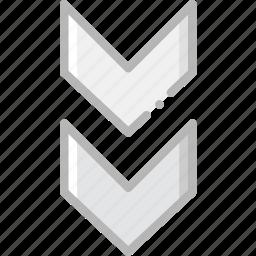 arrow, direction, double, down, orientation icon