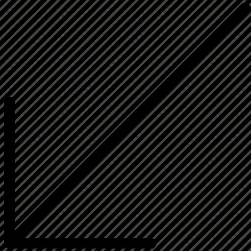 arrow, bottom, direction, left, orientation icon