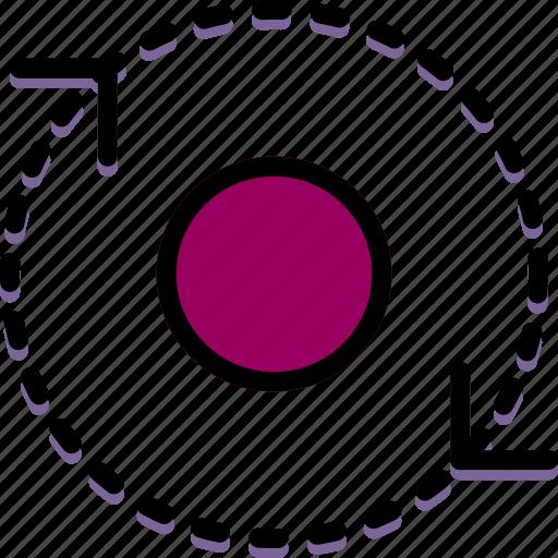 around, arrow, direction, orbit, orientation icon