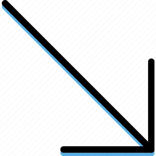 arrow, bottom, direction, orientation, right icon