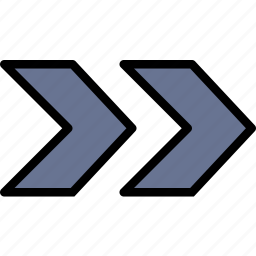 arrow, direction, double, orientation, right icon