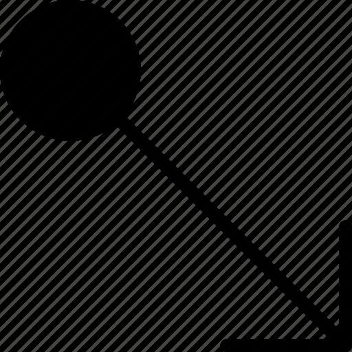 arrow, bottom, direction, drag, orientation, right icon