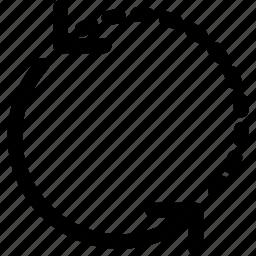 arrow, direction, half, orientation, spin icon
