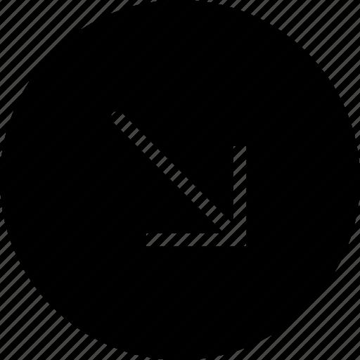 arrow, diagonal, direction, down, orientation, right icon