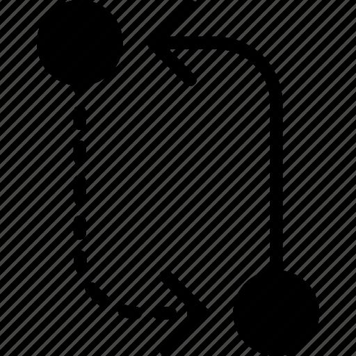 arrow, cicle, circuit, direction, orientation icon