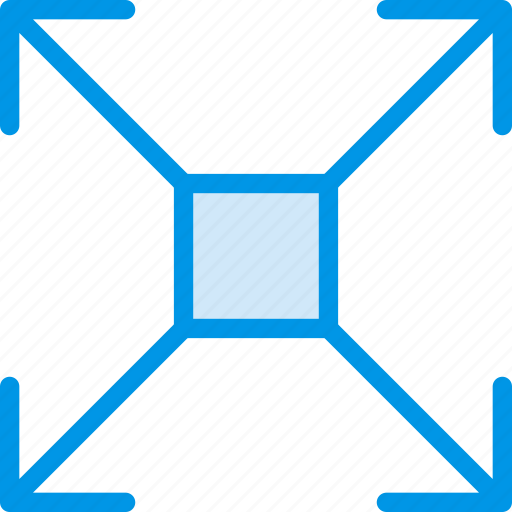 arrow, direction, expand, orientation, square icon