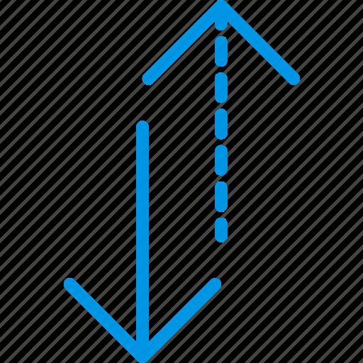 alternative, arrow, direction, orientation, vertical icon