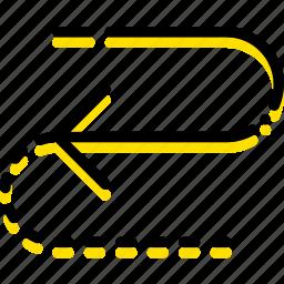 arrow, cycle, direction, half, orientation icon