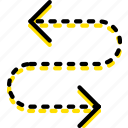 arrow, direction, orientation, semicycle icon