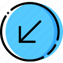 arrow, diagonal, direction, down, left, orientation icon