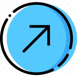 arrow, diagonal, direction, orientation, right, up icon