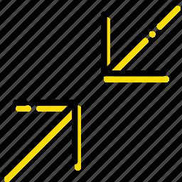 arrow, diagonal, direction, minimize, orientation icon