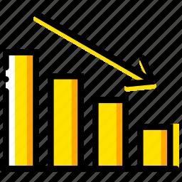 business, decreasing, finance, marketing, stats icon