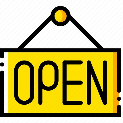 business, finance, marketing, open, sign icon