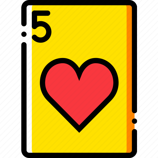 card, casino, five, gamble, hearts, of, play icon