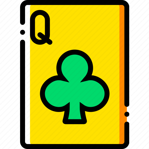 card, casino, clubs, gamble, of, play, queen icon
