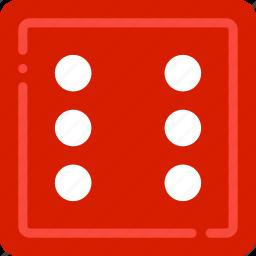 card, casino, gamble, play, six icon
