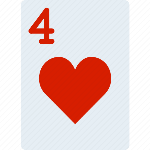 card, casino, four, gamble, hearts, of, play icon