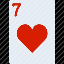 card, casino, gamble, hearts, of, play, seven icon