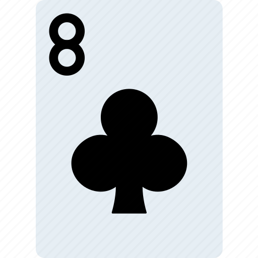 card, casino, clubs, eight, gamble, of, play icon