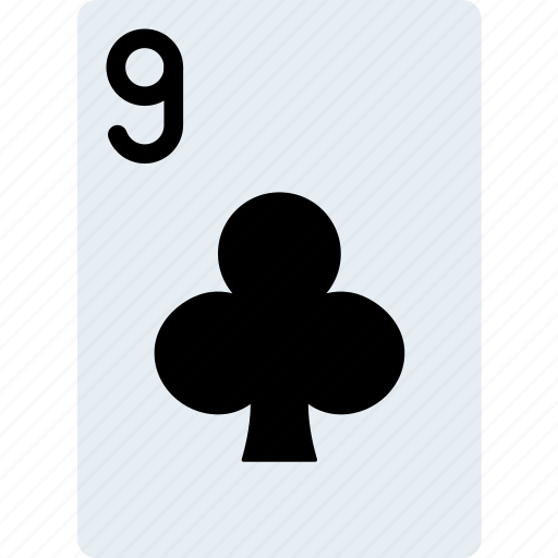 card, casino, clubs, gamble, nine, of, play icon